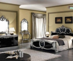 bedroom with mirrors and curtain
