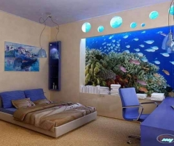 bedroom with blue lighting