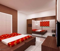 red color bedroom with mirrors