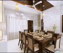 dining room with fan and AC and lighting