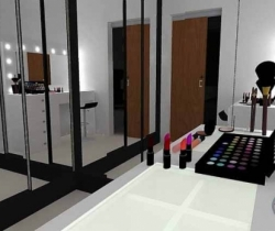 large recessed mirror dressing rooms