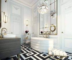 black and white designed flooring