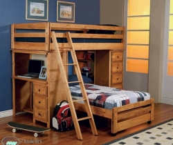 kids room with wooden furniture