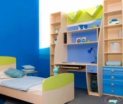 blue wall design kids room