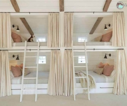 white color kids room with two twin beds