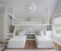 white color kids room with twin beds